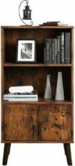 Acaza Vintage Kast - Boekenkast met Open en Gesloten compartiment - 60 cm Breed, 120 cm Hoog en 30 cm Diep - Vintage Bruin