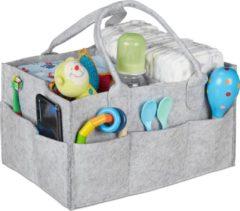 Relaxdays luiertas baby - verzorgingstas vilt - organizer luiers - uitneembare schotjes Lichtgrijs