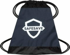 SafeSave gymtas – Waterdichte rugtas met trekkoord - zwemtas - schooltas - parachutestof - blauw