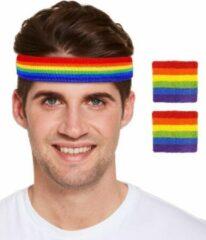 Merkloos / Sans marque Regenboog gay pride kleuren hoofd en pols zweetbandjes set 3 stuks - Regenboogvlag LHBT accessoires
