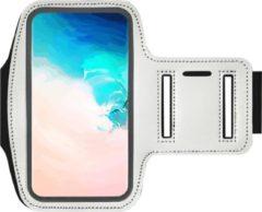 ADEL Sportarmband 5.5 Inch Microfiber Hoesje voor Motorola G4 Plus - Wit