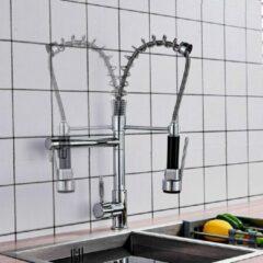 SelectGoodz Keukenkraan zwart met chroom – kraan met sproeikop – mengkraan – dubbele uitloop - 360C rotatie