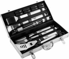 Zilveren Frank Trending Luxe bbq set met 18 bbq accesoires - Bbq gereedschapset inclusief 18 barbecue accesoires - Barbecue set koffer met barbecue gereedschap - RVS / Roestvrijstaal