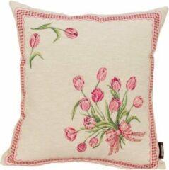Rode Emme Kussenhoes - luxe Gobelinstof - boeket Tulpen met ruiten rand