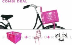 Voordrager roze + Fietskrat roze + Anti-diefstalset voor de bevestiging | COMBIDEAL | 26 inch - 28 inch | voorrek roze + roze krat + Basil bevestigingsset | PIMP JE FIETS | LARGE