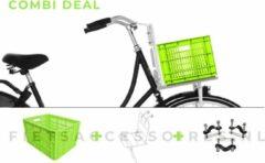 Voordrager wit + Fietskrat groen + Anti-diefstalset voor de bevestiging | COMBIDEAL | 26 inch - 28 inch | voorrek wit + groene krat + Basil bevestigingsset | PIMP JE FIETS | LARGE