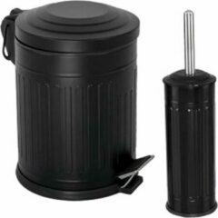 Tiss - Pedal Bin Vintage Pedaalemmer 2-delig - badkamer en toilet- 5 l - Zwart