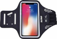 Premium Sportarmband - Universele Hardloop Armband - iPhone, Samsung & Huawei - Smartphonehouder - Reflecterend, Spatwaterdicht, Sleutelhouder, Verstelbaar - Lycra - Zwarte Sportarmband - ATHLETIX