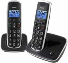 Fysic FX-6020 Big Button Dect Twinset | Extra groot verlicht display, grote toetsen en luid gespreksvolume | Zwart