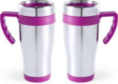Carson 2x stuks rVS thermosbeker/warmhoud koffiebekers roze 500 ml - Isoleerbekers/reisbekers