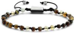 Donkerbruine Frank 1967 Beads 7FB 0364 Natuurstenen armband - One-size - 4 mm - Donker Bruin
