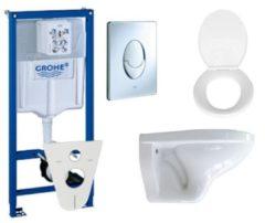 Witte Adema Classic toiletset compleet met inbouwreservoir, softclose zitting en bedieningsplaat chroom