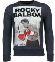 Local Fanatic Rocky Balboa - Rhinestone Sweater - Blauw Sweaters / Crewnecks Heren Sweater Maat 3XL