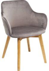Kare Design - Stoel Lady Armleuningen - Fluweel Grijs - Eikenhouten Poten