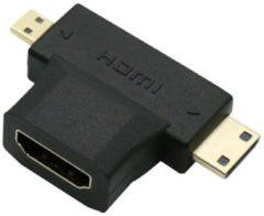 Zwarte 3 in 1 Micro HDMI + Mini HDMI naar HDMI kabel converter adapter voor HDTV 1080P / HaverCo