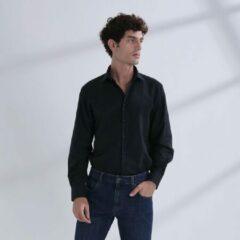 Heren Overhemd Zwart MT 48 - Baurotti Lange Mouw Regular fit