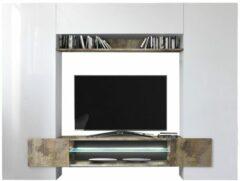 Pesaro Mobilia TV-wandmeubel set Incastro 191 cm hoog - Hoogglans wit met eiken