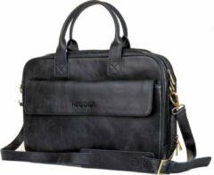 Negotia Leather NEGOTIA Alpha - Leren Laptoptas Heren en Dames - 15,6 inch - Luxe Top-Grain Leer - Zwart