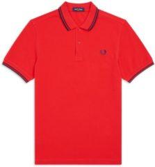 Fred Perry Poloshirt - Maat M - Mannen - rood/zwart