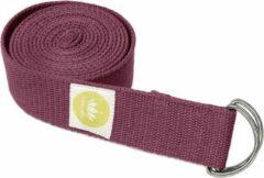 Lotuscrafts Yoga Riem Aubergine - 100% BIO katoen (KBA) - GOTS - voor betere rek - voor beginners en gevorderden - yogariem met metalen sluiting [250 x 3,8 cm] - yoga belt - yoga gordel - yoga strap - stretch strap