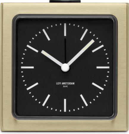 Afbeelding van LEFF amsterdam - Block Clock - Klok - Alarm - Goud/Zwart - Design - Staande Klok