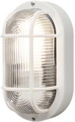 Konstsmide Buitenlamp 'Elmas' Wand / Plafondlamp, Ovaal 20cm, E27 / 230V, kleur Wit