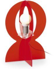 Vesta Lampada da tavolo in plexiglass colorato trasparente BASCO 30x30xh43 cm-E 27 W40 in rosso trasparente
