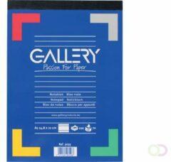 Blauwe Gallery schrijfblok formaat 148 x 21 cm (A5) gelijnd blok van 100 vel