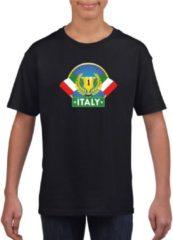 Zwarte Shoppartners Zwart Italiaans kampioen t-shirt kinderen - Italie supporter shirt jongens en meisjes M (134-140)