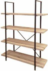 Gebor Industriële Stellingkast Jim - 4 planken - 100x33x140cm - Wandkast - Open Boekenkast - Woonkamerkast - Stoer - Zwart - Naturel