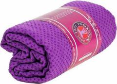 Yogi & Yogini Yoga handdoek siliconen antislip paars - 183x65 - Silicoon - 500 - Paars