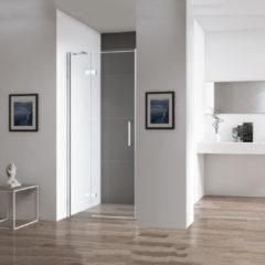 Douche Concurrent Douchedeur Nisdeur Draaideur met Vaste Wand 90(60-30)x200cm Antikalk Helder Glas Chroom Profiel 8mm Veiligheidsglas Easy Clean