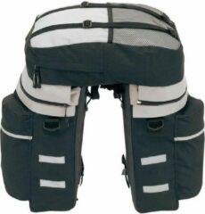 Merkloos / Sans marque Fietstassen set met rugtas zwart/grijs - 43 liter - Fietstassen inclusief regenhoes/beschermhoes
