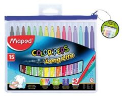Maped Office Color'peps goed uitwasbare viltstift - in ophangbaar kunststof etui met rits x 15