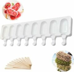 Witte Merkloos / Sans marque Siliconen Ijsvorm -GRATIS 50 Stokjes- 8 IJsjes- Magnum Maker- Waterijs Maker- Fruitijs Maker- Yoghurt ijs Maker- Ijsjeshouders - Magnum Mold- DIY Kitchentools