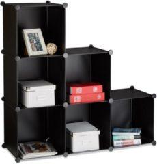 Zwarte Relaxdays - open kast 6 vakken - ruimteverdeler - boekenkast - vakkenkast - rek zwart