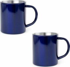 Shoppartners 2x Drinkbeker/mok blauw 280 ml - RVS - Blauwe mokken/bekers voor onbijt en lunch