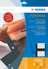 HERMA Fotophan transparent photo pockets 13x18 cm landscape black 10 pcs. (7787)