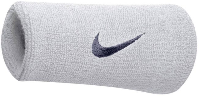 Afbeelding van Witte Nike - Swoosh Doublewide Wristbands - Nike Zweetbanden