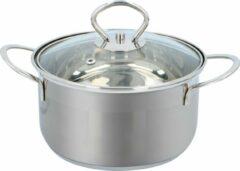 Zilveren Alpina Kitchen & Home Alpina Pan met Glazen Deksel - Ø 16 cm - Alle Warmtebronnen - Ook Inductie