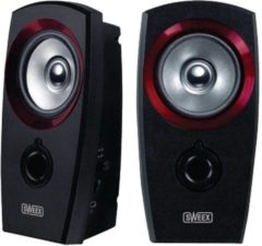 Zwarte Sweex 2.0 Speaker Set USB. Black/Red. USB Powered