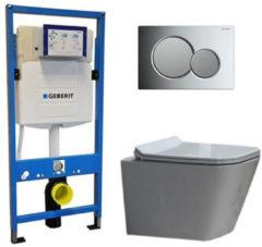 Douche Concurrent Geberit UP 320 Toiletset - Inbouw WC Hangtoilet Wandcloset - Alexandria Flatline Sigma-01 Chroom/Mat Chroom