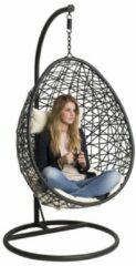 Luxurybrand Hangstoel - Grijze kussens- ei - egg chair - zwart - lounge stoel - woondecoratie - slaapkamer - Rotan