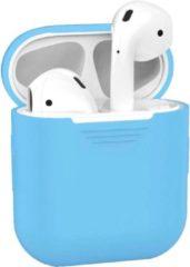 Lichtblauwe BTH Siliconen Bescherm Hoesje Cover voor Apple AirPods 1 Case Licht Blauw