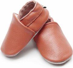 Supercute - leren sloffen - cognac bruin - leren schoenen - 6 t/m 12 maanden