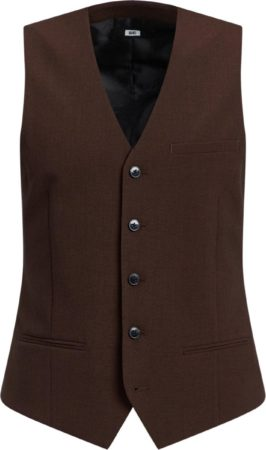 Afbeelding van Donkerbruine WE Fashion Heren slim fit gilet, Dali - Maat XL (54)