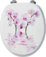 Toiletzitting Allibert Decor Orchidee 37,3x5,6x44,8 cm MDF Inox Scharnieren