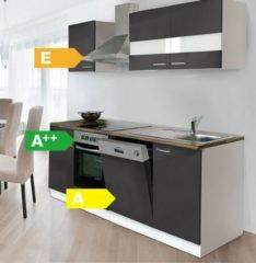 Respekta kitchen economy Respekta Küchenzeile KB220WGC 220 cm Weiß - Grau