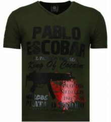 Local Fanatic Pablo Escobar Narcos - Rhinestone T-shirt - Groen Pablo Escobar Narcos - Rhinestone T-shirt - Zwart/Navy Heren T-shirt Maat XL