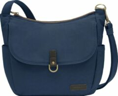 Travelon Courier Anti-diefstal Hobo Schoudertas Damestas Canvas Leder Rfid 33303 Blauw